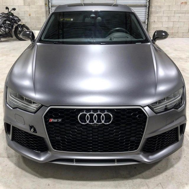 Happy weekend everyone! Here's a couple throwback photos to the sicky little wrap we installed on this flawless Audi RS-7. The vinyl is 3M Satin Dark Grey. Who's an Audi fan? Anyone prefer BMW or Mercedes? 🤔  *****************************************************  #audi #audirs7 #audiwrap #3m #3msatindarkgrey #satin #wrap #wrap #cars #carwrapping #carwraps #weekend #3mwrap #rs7