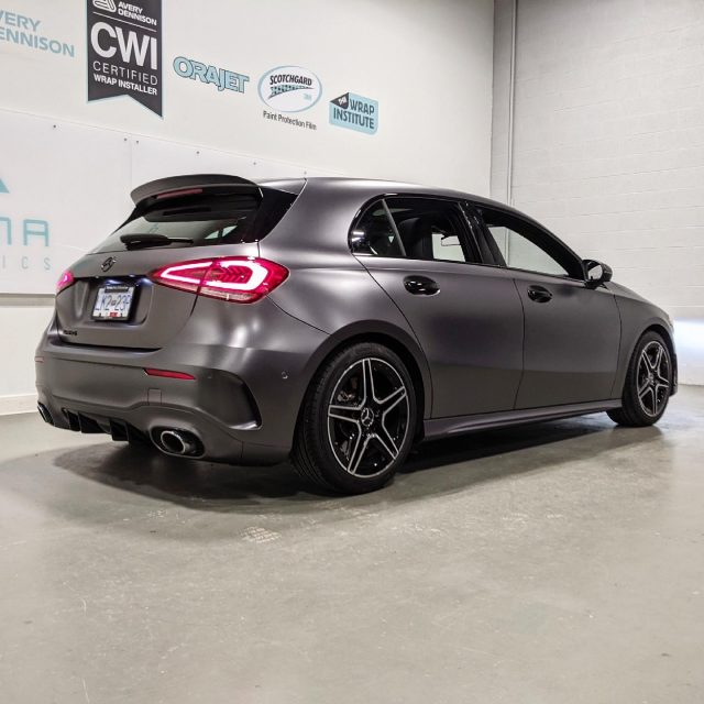 What do you think about this vinyl colour? 🔥  We went all out for this beautiful Mercedes A35! A full wrap with 3M Satin Dark Grey vinyl + Gloss Black vinyl chrome delete.  We would also like to extend a huge thanks to @uniquedetailinginc for their mobile ceramic coating service they provided for this vehicle. These guys are true professionals and we would highly recommend!  *****************************************************  #a35 #mercedesbenz #mercedes #mercedesa35 #wrap #colorchange #satindarkgrey #wrapped #wraps #vinylwrap #3m #3msatindarkgrey