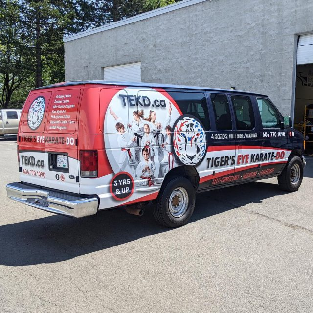 We are so proud to have worked with the amazing team with @tigerseyekaratedo! They provide Karate classes for people of all ages. We would highly recommend! 🔥  ******************************************************  #katate #karatedo #vehiclegraphics #partialwrap #brand #advertising #vanwrap #wemeanbusiness #weekend #saturday