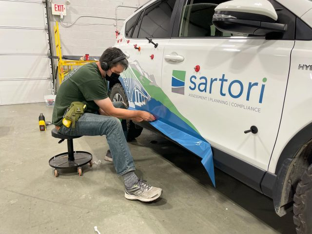 Working on the graphics installation for @sartorienvironmental. Pics of the finished wrap to come 🔥  ***************************************************  #wrap #wraps #wrapshop #wrapinstaller #graphics #vehiclegraphics #brand #print #printing #advertising